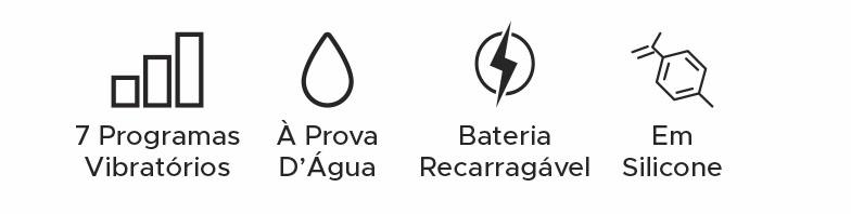 Vibrador Bullet Recarregável à prova d'água com 7 programas de vibrações em silicone